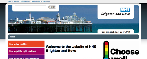 NHS Brighton and Hove homepage